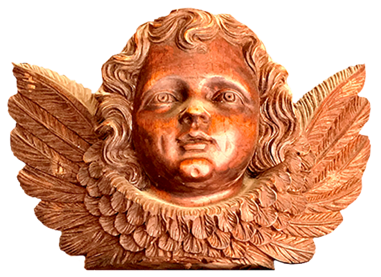 Cherub carved in wood at Hacienda Cusin